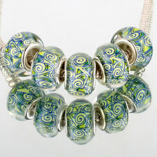 National wind 5pcs SILVER MURANO glass bead LAMPWORK For European Charm Bracelet