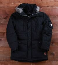 "Voi Jeans Alaska fleece lined quilted fur parka jacket L 42"" Black BNWT 52% OFF"