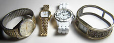 NICE COLLECTION OF FOUR WATCHES, GOLDTONE, SILVERTONE AND WHITE CERAMIC BANDS