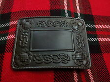 TC New Men's Kilt Belt Buckle Thistle/Celtic Thistle Kilt Belt Buckle Jet Black
