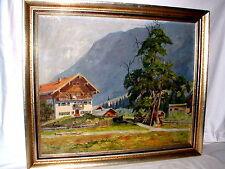 Ölgemälde Hans Kaluske (*1915),Blick auf Bergdorf  in Alpenlandschaft gerahmt