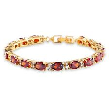 Round White Topaz Oval Red Garnet Tennis Bracelet Women's Gold Filled Chain 6.7""