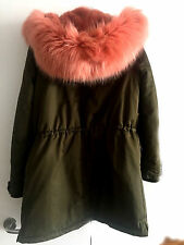 ZARA NEW LONG KHAKI PARKA COAT COLOURFUL PINK FAUX FUR HOOD SIZE M UK 10