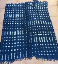 """Vintage African,Dogon Indigo Resist Dyed Fabric/Hand Woven Cotton Strips/42""""x54"""""""
