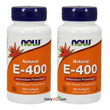 2 x NOW Foods Vitamin-E 400 IU+Tocopherols Antioxidants 100 Softgels Made In USA