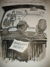 LISTED ARTIST BILL CANFIELD ORIGINAL ART DRAWING CARTOON POLICE & DRIVERS SIGNED