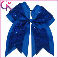 8 inch Sequin Large Hair Accessories Cheerleading Cheer Bow Elastic Band Girls