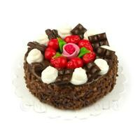 Dolls House Miniature Chocolate Strawberry Rose Cake