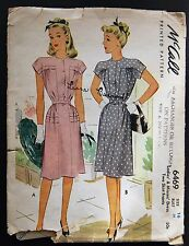 Vintage Original McCall 40's Afternoon Dress Pattern No. 6469