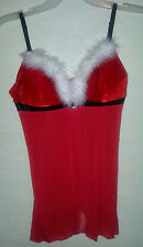 Christmas Sexy Lingerie Santa Red Chemise Nightie Sheer White Feathers Xmas 38C