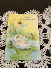 Vintage Greeting Card Baby Congrats Angel Bunny Mouse