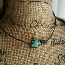 LEATHER TURQUOISE HOWLITE TURTLE & PEARL CHOKER & BRACELET SET $17.99