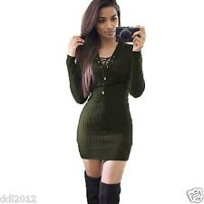Sexy Women Winter Autumn Long Sleeve Knitted Bodycon Sweater Slim Mini Dress