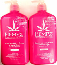 2 Hempz Sweet Strawberry Creme & Brown Sugar Herbal Moisturizer After Tan Lotion
