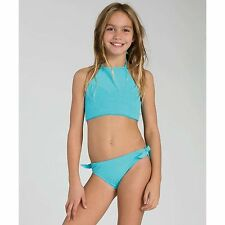 BILLABONG GIRLS SOL SEARCHER HALTER TWO PIECE SWIMSUIT BIKINI BLUE SZ 4 NEW $49