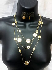 Gold Metal Statement Coin Disc Circle Long Chain Necklace Set Earrings Charm NEW