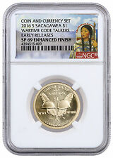 2016-S $1 Coin & Currency Set: Code Talkers NGC SP69 ER W/ PMG Banknote SKU41589