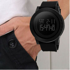 Black Sports Rubber Band Fashion Digital Army Military Quartz Wrist Watch Men