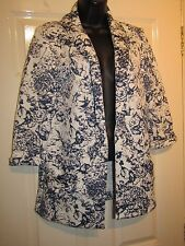 WHITE WITH BLUE FLORAL WATERFALL CARDIGAN - UK Size 10