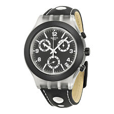 SWATCH CHRONOGRAPH DATE BLACK DIAL BLACK LEATHER STRAP MEN'S WATCH SVCK4072 NEW