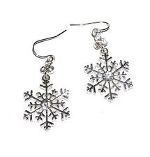 EARRINGS Wires Dangles ST Silvertone Clear Rhinestones SNOWFLAKES