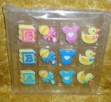 Baby Shower,Unisex,Edible Sugar Soft Cupcake Toppers,DecoPac,12 ct,Multi-Color