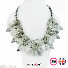 NEW Cluster Silver Crystal Bib Spike Necklace Chain Pendant Ladies Womens UK