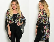 Womens Ladies Chiffon Butterfly Floral Print Batwing Gypsy Long Top Size 8-12