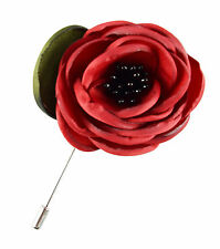 Lapel Flower Red Boutonniere Stick Brooch Pin Men's Shirt Suit Tie Womens