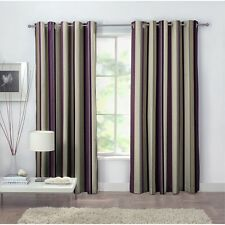 "100% Cotton Stripe Eyelet Curtains - 46x72"" 117x183cm Purple grey beige"