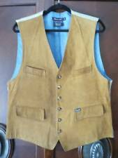FACONNABLE   Mens  Camel Brown Calf Nubuck Leather V-Neck Vest L Mint!