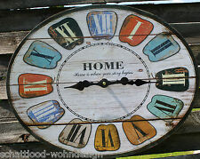 Wanduhr ovale Uhr Home beige Landhaus Stil Home is where your story begins