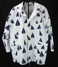 Michigan Rag Co. Vintage SAILBOATS Nautical Print Oversized Beach Jacket M/L