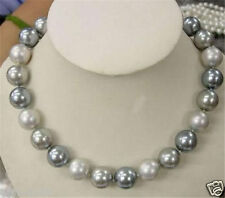 "Rare 8mm Genuine White Silver Gray South Sea Shell Pearl Necklace 18""AAA+"