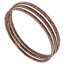 Set of 3 Bangle Bracelets Copper Ox Tone Thin Hammered USA Made