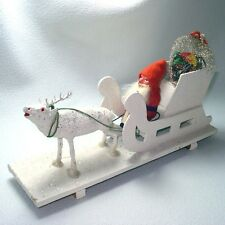 Antique Germany Compo Christmas Belsnickle Santa, Sleigh, Reindeer