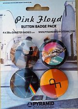 Pink Floyd 4 Badge Pack Dark Side Of The Moon, Wish You Were Here