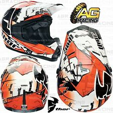 Thor 2014 Cuadrante fragmento Naranja Blanco Kids Race Casco X-large Xl Enduro Nuevo