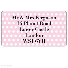 Personalised Spotted Pink Address Stickers Moving House Home Labels Seals - 194
