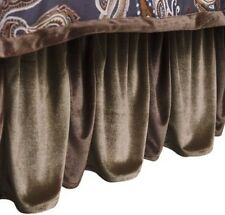 $136 NEW English Laundry Ashton Velvet Brown California King Bed Skirt Ruffled