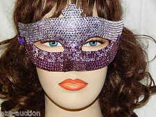 Party Rhinestone Crystal Masquerade -Silver Purple Mask Costume