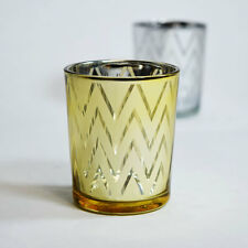 Chevron Votive Tea Light Glass Candle Holder - Gold (2.5 Inches) (6 Pack)