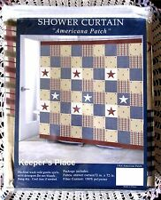 Patriotic AMERICANA PATCH Country Primitive Fabric Shower Curtain New