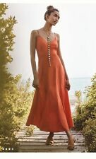 New Anthropologie HD in Paris Sassafras Orange Maxi Slip Dress $158 Size 10 WOW