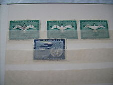 Collection of 4 First Issue United Nations Airmail Stamps 1951 & 1957