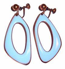 Modernist Blue Enamel on Copper Earrings 1960s Design Mid Century