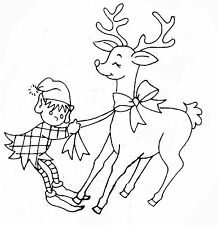 Vintage Embroidery transfer repo 3857 Christmas Elves for Kitchen dish towels