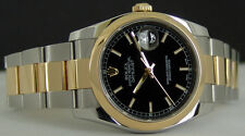 ROLEX - Men's 18kt Gold & SS Jet Black Bold Index - DateJust 36mm Model - 116203