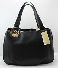 NEW AUTHENTIC MICHAEL KORS FULTON BLACK PURSE HANDBAG LG EW TOTE LEATHER