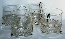 Set of Four Pyrex Beakers with Silver Plate Holders
